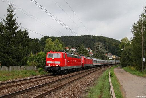 """181 213 """"Saar"""" mit der geschleppten 120 134 und Lr 46076 von Mannheim Hbf nach Saarbrücken Hbf , Scheidt 12.09.2012"""