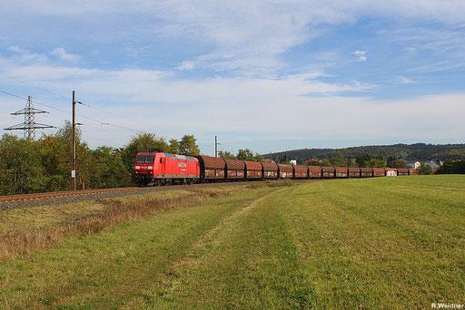 """145 059 mit """"Importkohlezug"""" GM 98808 Ensdorf - Göttelborn auf der eingleisigen Stichstrecke Merchweiler - Göttelborn, 08.10.2012"""