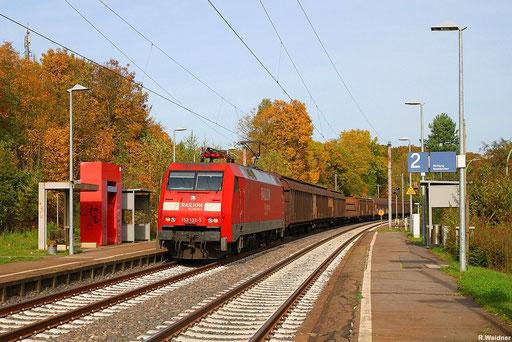 """152 133 """"RALION DB Logistics"""" mit Frachtenzug EZ 52808 Mannheim Rbf - Saarbrücken Rbf am Hp Sulzbach-Altenwald, 20.10.2012"""