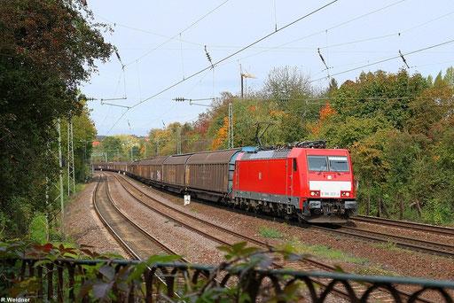 """nur wenige Güterzüge verkehren Planmäßig auf der KBS 670 zwischen Saarbrücken und Homburg, einer davon ist der """"Frachtenzug"""" EZ 44405 Lerouville - Mannheim Rbf ,am 13.10.2012 bespannt mit 186 322 in Saarbrücken St.Johann"""