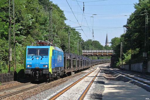 """an der  Einfahrt Saarbrücken Rbf, PKP 189 804 / EU45-804 mit """"Mosolf-Autotransportzug"""" DGS 43380 Rzepin/PL - Dillingen Ford, am Hp Jägersfreude 23.08.2012"""