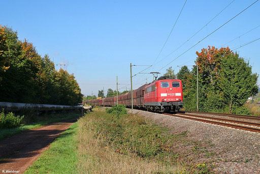 151 139 bei  schönem Herbstwetter mit GM 49462 Fürstenhausen - Oberhausen West,  der Zug hat gerade den Bahnhof Fürstenhausen verlassen und befindet sich in höhe Gersweiler - Ottenhausen, 01.10.2012