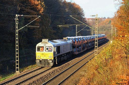 """ECR 77 028 """"beschleunigt"""" mit Autotransportzug"""" EZ 44422 (Einsiedlerhof) Saarbücken Rbf Nord - Forbach (Villers-Cotterêts) Richtung Frankreich, Saarbrücken 13.11.2012"""