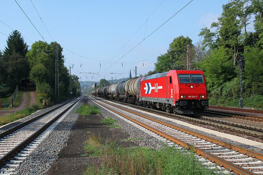 HGK 185 632 mit Kesselwagenleerzug durchfährt den Bahnhof Dudweiler 14.09.2012
