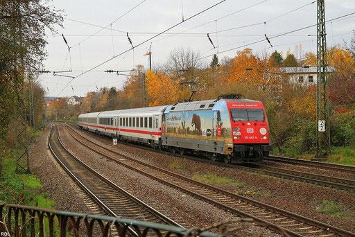 "101 087 ""Packendes Südafrika"" mit IC 2351 Saarbrücken - Stuttgart, SB-St.Johann 18.11.2012"