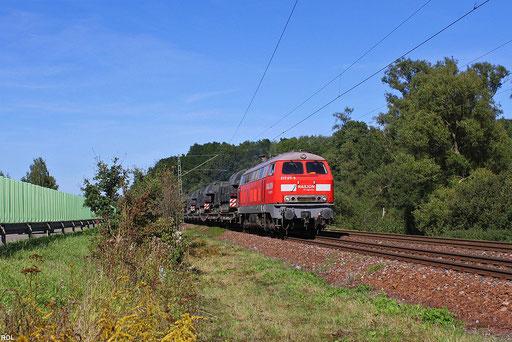 225 811 mit Militärzug M 62961 von Baumholder nach Bergen in der Lüneburger Heide, Oberlinxweiler 06.09.2012