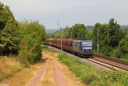 RBH 143 028 mit Kohleleerzug, der beladen für das KW Fenne in Völklingen bestimmt war, GM 62986 Fürstenhausen - Duisburg-Ruhrort Hafen bei Gersweiler, 20.08.2012