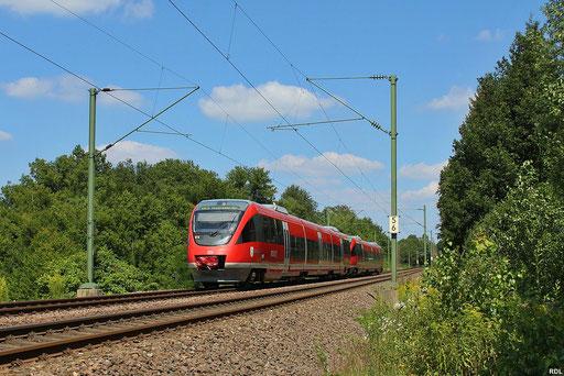 Talent-Doppeltraktion 643 031 + 643 024 als RE 20630 Mainz Hbf - Saarbrücken Hbf bei Saarbrücken-Neuhaus auf der KBS 681(Fischbach-Umleiter) , 10.08.2012