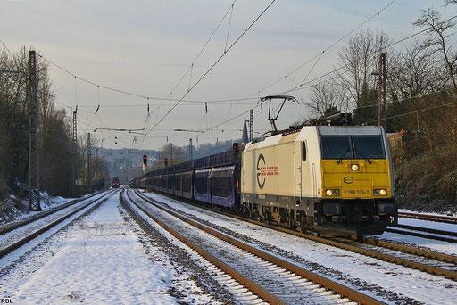ECR 186 313 mit GEFCO-zug GA 48213 Gevrey - Mannheim Rbf , Dudweiler 13.12.2012