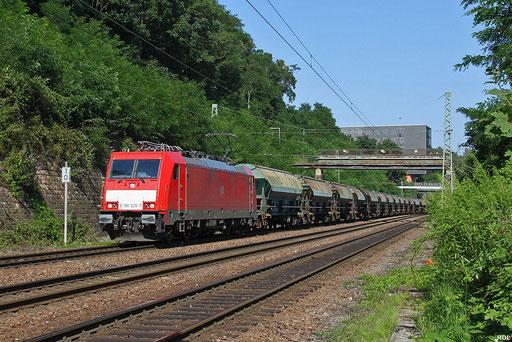 186 325 mit GB 44426 München Ost - Forbach/F einem leeren Talk-Ganzzug aus Österreich (Zeltweg)  auf der Güterumfahrung in Saarbrücken, 24.07.12