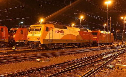 """""""Märklin"""" 120 112 steht am  zur """"Nachtruhe"""" im Bh Saarbrücken, 26.09.2012"""