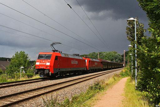 DT 152 075+076 mit GM 49738 Neunkirchen/Saar - Oberhausen West, wegen Sanierung des Bildstock-Tunnels umgeleitet über die Fischbachstrecke, Fischbach-Campausen 14.07.12