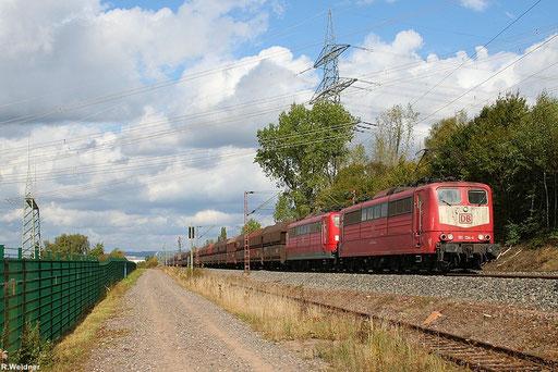 """""""Importkohlezug"""" GM 48747 Maasvlakte Oost - Neunkirchen(Saar)  mit 151 134 + 151 055 am Kraftwerk Ensdorf 29.09.2012"""