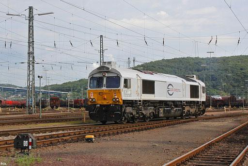 266 407 eine von vier aus Oberhausen an die ECR vermietete Class66 von DB Schenker Rail bei der ersten Fahrt aus eigener Kraft auf saarländischen Gleisen, Saarb.Rbf 27.08.