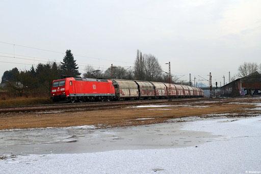 185 021 mit Kalkzug GM 61891 Auersmacher - Dillingen Hütte bei Bous , 13.12.2012