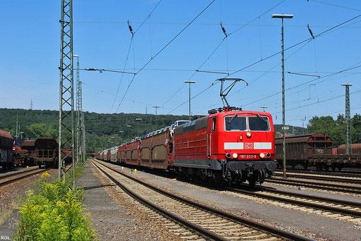"""an einem schönen Sommertag steht 181 223 mit """"Fiatzug"""" GA 98808 in Saarbrücken Rbf und wartet auf die Abfahrt nach Forbach/F , 24.07.2012"""