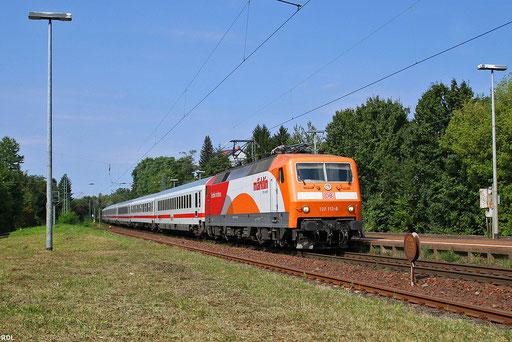 """120 112 """"Märklin"""" mit dem sonntäglichen IC 2351 von Saarbrücken nach Stuttgart am Haltepunkt Saarbrücken Ost, 09.09.2012"""