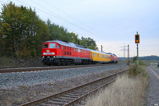 GSMR- Abnahmefahrten mit Messzug bestehend aus MEG 313 + Funkmesswagen 296 + MEG 315 als Mess Dbz 93040 Saarbrücken Hbf - Merzig(Saar), Ensdorf 10.10.2012