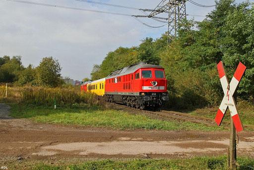 MEG 232  068 (313) und MEG 232 489 (315) mit GSMR-Messzug als Mess DbZ 93048  Dillingen - DillingenDB/Mei, Anschlussgleis zur Firma Meiser in Limbach 10.10.2012