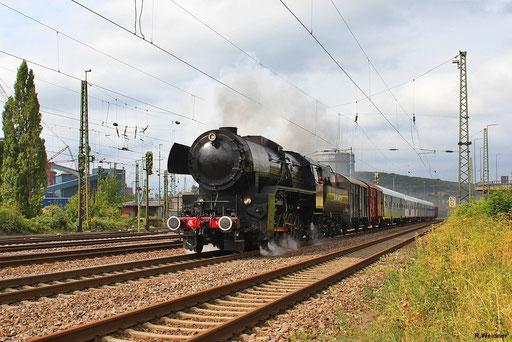 CFL 5519 mit DPE 13481 Wasserbillig/L - Offenburg Gbf bei der Ausfahrt aus der Indusdriestadt Völklingen, nur gut das zur Zeit Gleis 1 gesperrt ist und den Zug nichts zufahren konnte, 01.09.2012