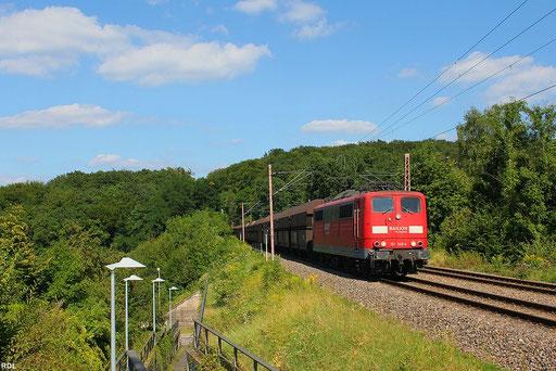 """letzmalig als Umleiter auf der """"Fischbachstrecke"""" unterwegs, der leere 4000er GM 49464 von Neunkirchen/Saar nach Oberhausen West mit 151 148, Fischb.-Campausen 10.08.12"""