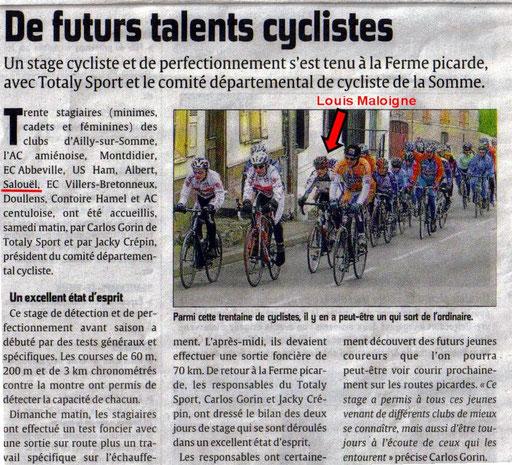 Stage cycliste Minimes / Cadets à la Chaussée Tirancourt : Louis Maloigne