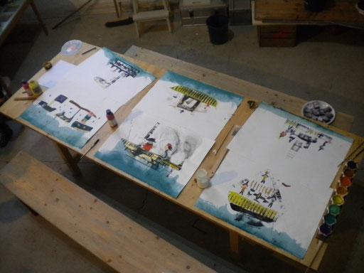 Papierarbeiten junger krefelder Künstlern