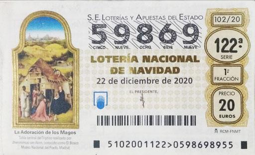 Décimo de Lotería de Navidad C.D. Pablo Iglesias 2020