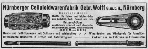 Anzeige der Firma Wolff, Nürnberg. Aus: Radmarkt 1928