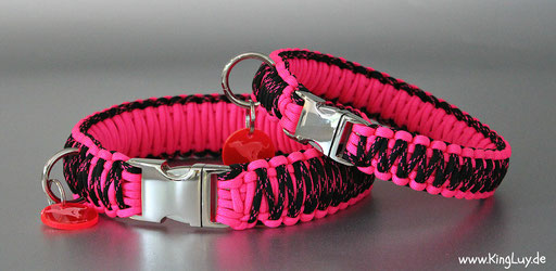 KingLuy Parcord Halsband neon pink/ black w neon pink x
