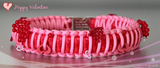 Paracord Themenhalsband Happy Valentine