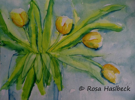 aquarell , kunstkaufen, malen, bild kaufen, malerei, blumenmalerei, blumen, bilder, blumenstrauß, tulpenstrauß,, bild kaufen, tulpenstrauß, gelb, grün, bilder, kunst, malen, wandbild kaufen, dekoration