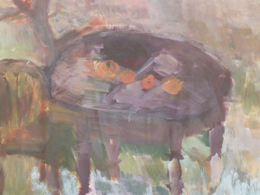 Kai's Tisch unter dem Apfelbaum  Acryl/Papier 15/20 cm 2000