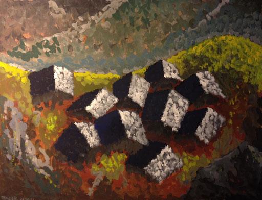 Flecken über dem Tal, 31x40cm, Gouache auf Papier, 2013