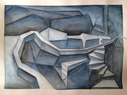 Kleiner Ort mit Treppe, 30x40cm, Farbstift aquarelliert auf Papier, 2013