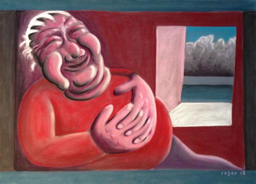 Dicke Freude vor nahendem Unwetter, 50x70cm, Pastell auf Velourspapier, 2013