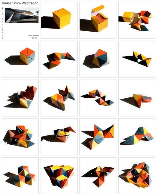 """Eine aus Papier gebastelte  geometrische """"Schlange"""" aus Tetraedern lässt sich neben der vielen anderen Möglichkeiten auch in einem einfachen Würfel zusammenfalten."""