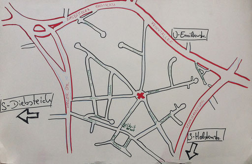 Eine Zeichung des Viertels von Torsten (Flohmarkt 2014)
