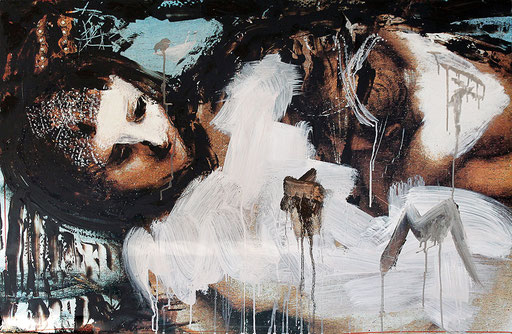 "Mother's milk   2014   Acrylic and bitumen on photograph, mounted on blockboard   80x120cm   31.5""x47.2"""