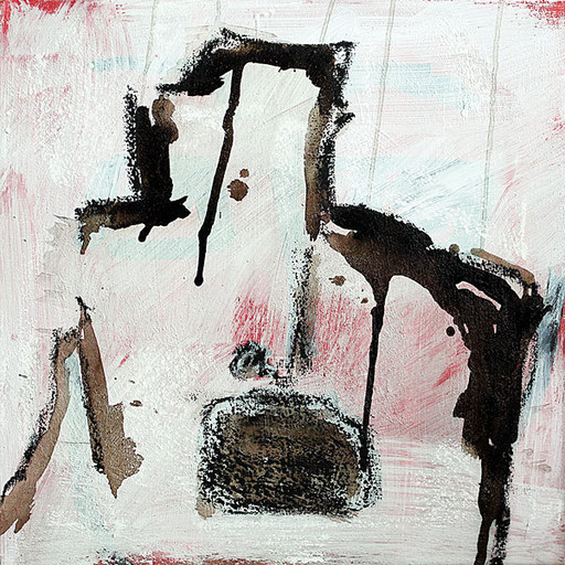 """-untitled-   2015   Acrylic, bitumen and oil pastel on canvas   50 x 50 cm   19.7""""x19.7"""""""