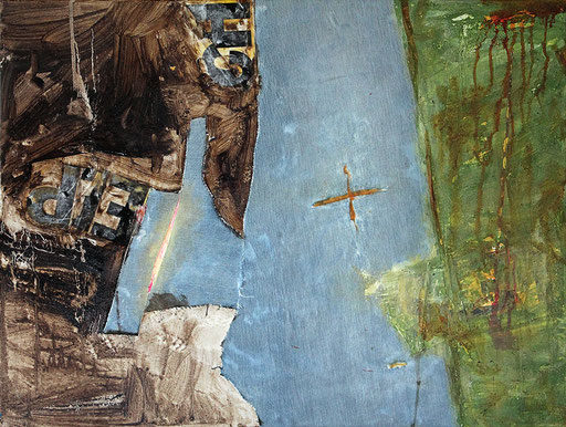 """Harbour   2014   Mixed media on canvas   60x80cm   23.6""""x31.5"""""""