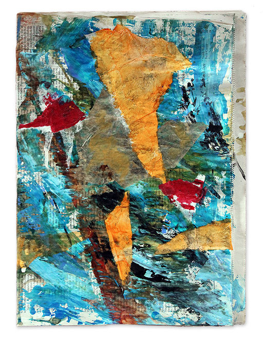 """Reef-tank   2014   Mixed media and collage on newspaper   40.1x29.3cm   15.8""""x11.5"""""""