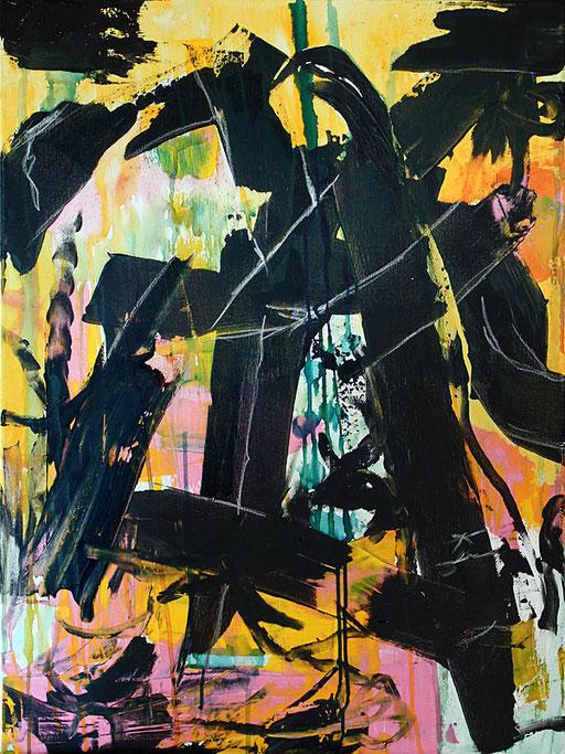 "Mir geht's gut   2015   Bitumen, Indian ink and oil paint stick on canvas   80 x 60 cm   31.5""x23.6"""