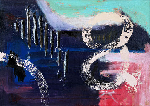"""Painted over blue   2014   Acrylic and bitumen on canvas   50x70cm   19.7""""x27.6"""""""
