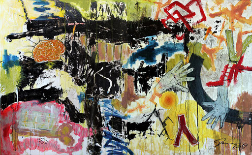 """Just my way   2015   Mixed media on canvas   Diptychon, 100 x 160 cm   Diptych, 39.4""""x63"""""""