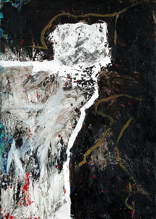 "White rock   2014   Mixed media on canvas   70x50cm   27.6""x19.7"""