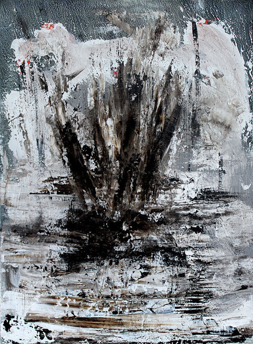 Eruption | 2015 | Bitumen and acrylic on canvas | Bernard Bieling