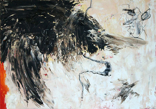 "Broken wing | 2014 | Acrylic, bitumen and oil paint stick on canvas | 50x70cm | 19.7""x27.6"""