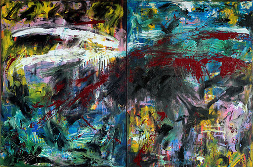 "Alles in Ordnung! | 2015 | Acrylic, lacquer and bitumen on canvas | Diptych, 65 x 99 cm | 25.6""x39"""