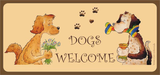 dogs welcome illustrierte Postkarte für Hundeliebhaber